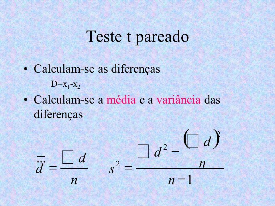 ( ) å Teste t pareado 1 - = n d s & Calculam-se as diferenças