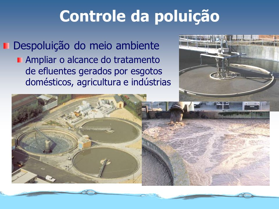 Controle da poluição Despoluição do meio ambiente