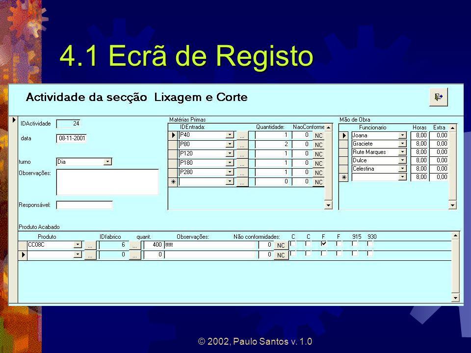 4.1 Ecrã de Registo © 2002, Paulo Santos v. 1.0