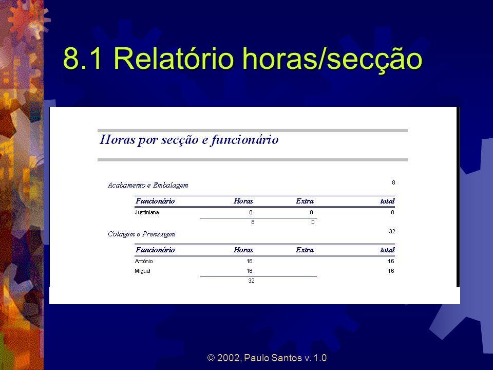 8.1 Relatório horas/secção