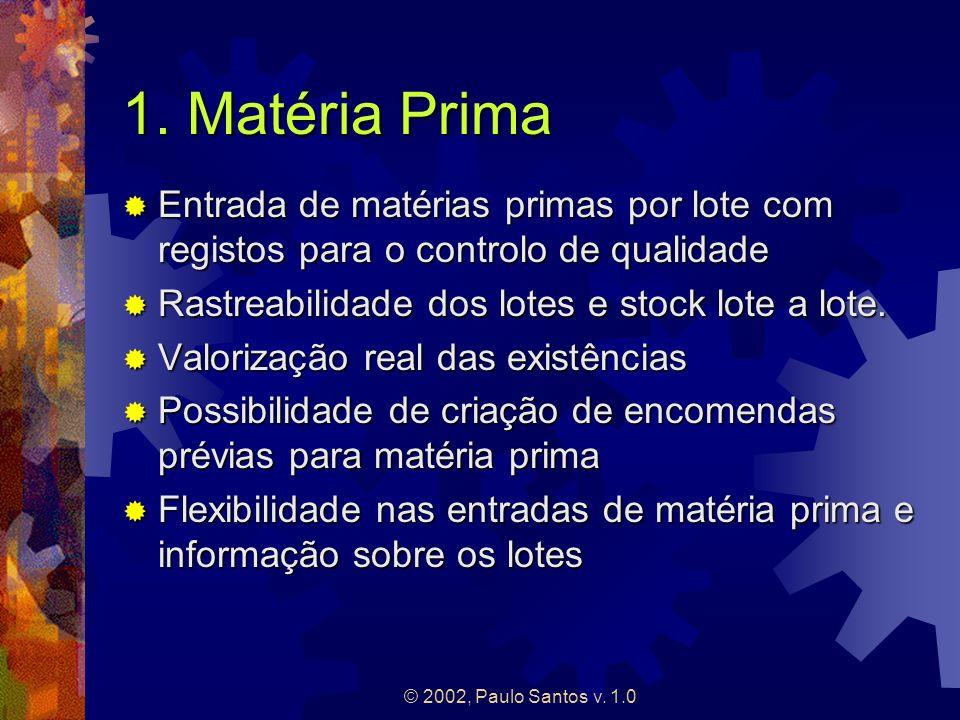 1. Matéria PrimaEntrada de matérias primas por lote com registos para o controlo de qualidade. Rastreabilidade dos lotes e stock lote a lote.