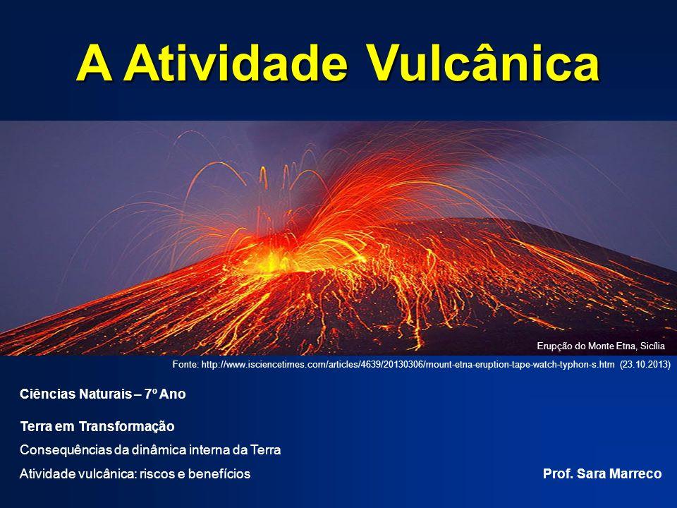 A Atividade Vulcânica Ciências Naturais – 7º Ano