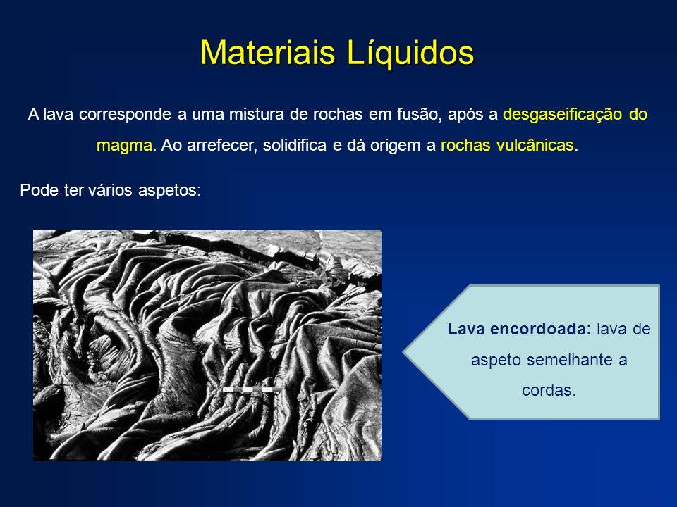 Lava encordoada: lava de aspeto semelhante a cordas.
