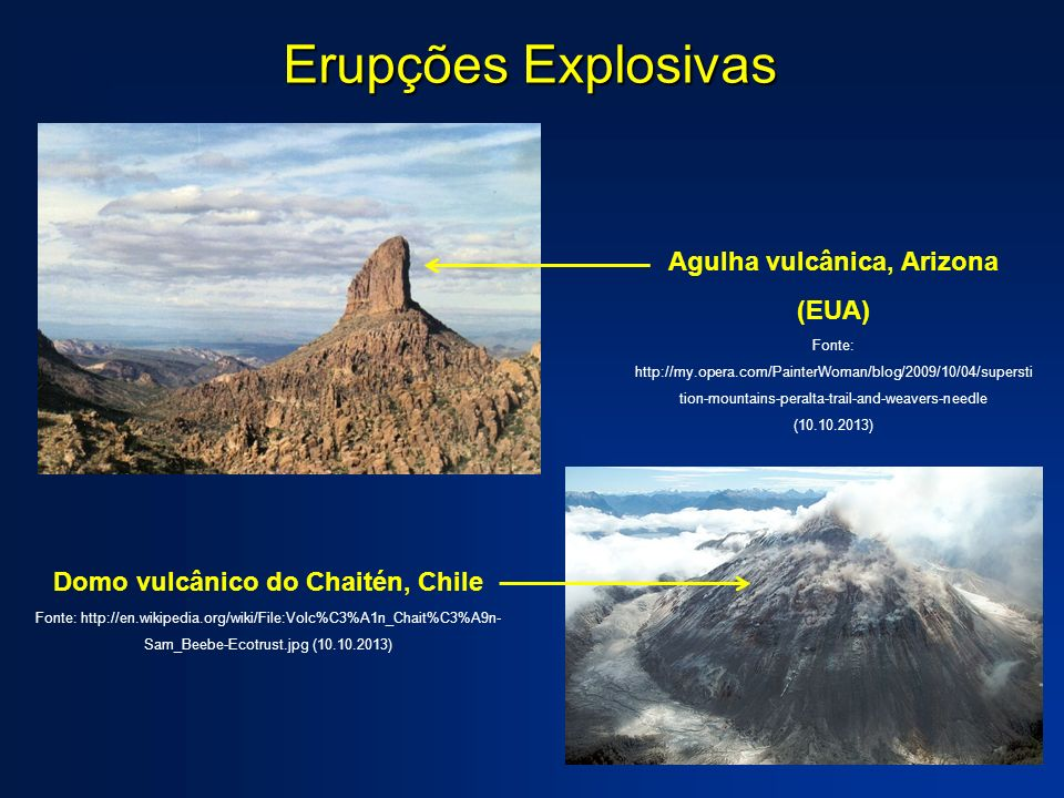 Agulha vulcânica, Arizona (EUA) Domo vulcânico do Chaitén, Chile