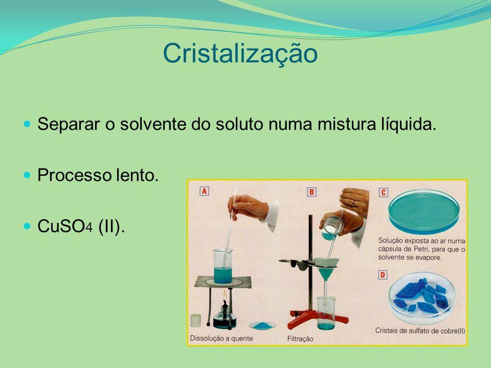 Cristalização Separar o solvente do soluto numa mistura líquida.