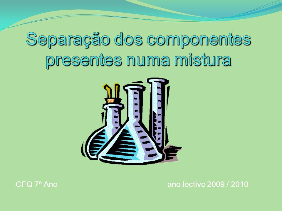 Separação dos componentes presentes numa mistura