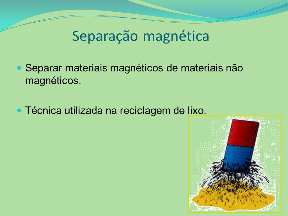 Separação magnética Separar materiais magnéticos de materiais não magnéticos.