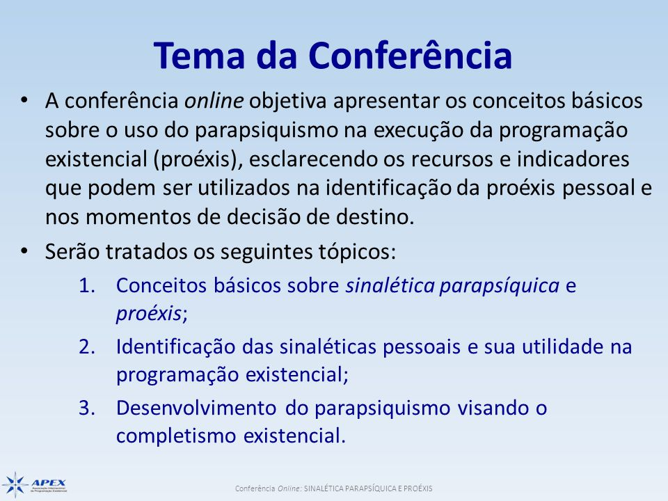 Tema da Conferência