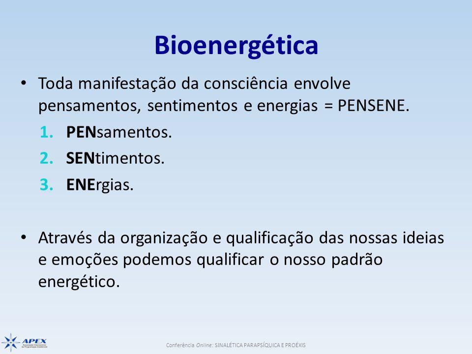 Bioenergética Toda manifestação da consciência envolve pensamentos, sentimentos e energias = PENSENE.