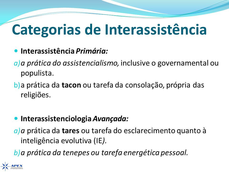 Categorias de Interassistência