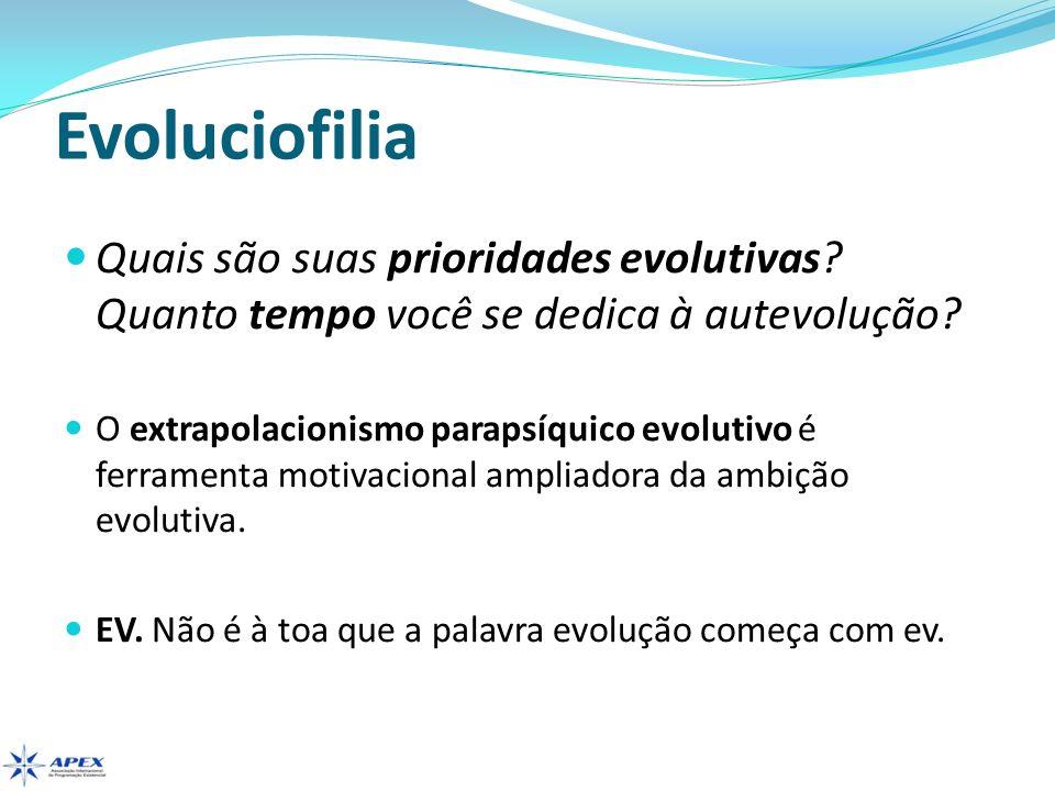 Evoluciofilia Quais são suas prioridades evolutivas Quanto tempo você se dedica à autevolução