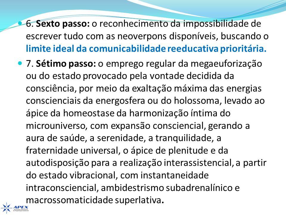6. Sexto passo: o reconhecimento da impossibilidade de escrever tudo com as neoverpons disponíveis, buscando o limite ideal da comunicabilidade reeducativa prioritária.