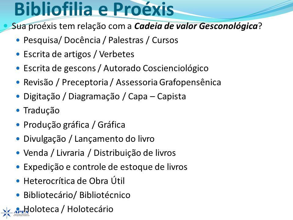 Bibliofilia e Proéxis Sua proéxis tem relação com a Cadeia de valor Gesconológica Pesquisa/ Docência / Palestras / Cursos.