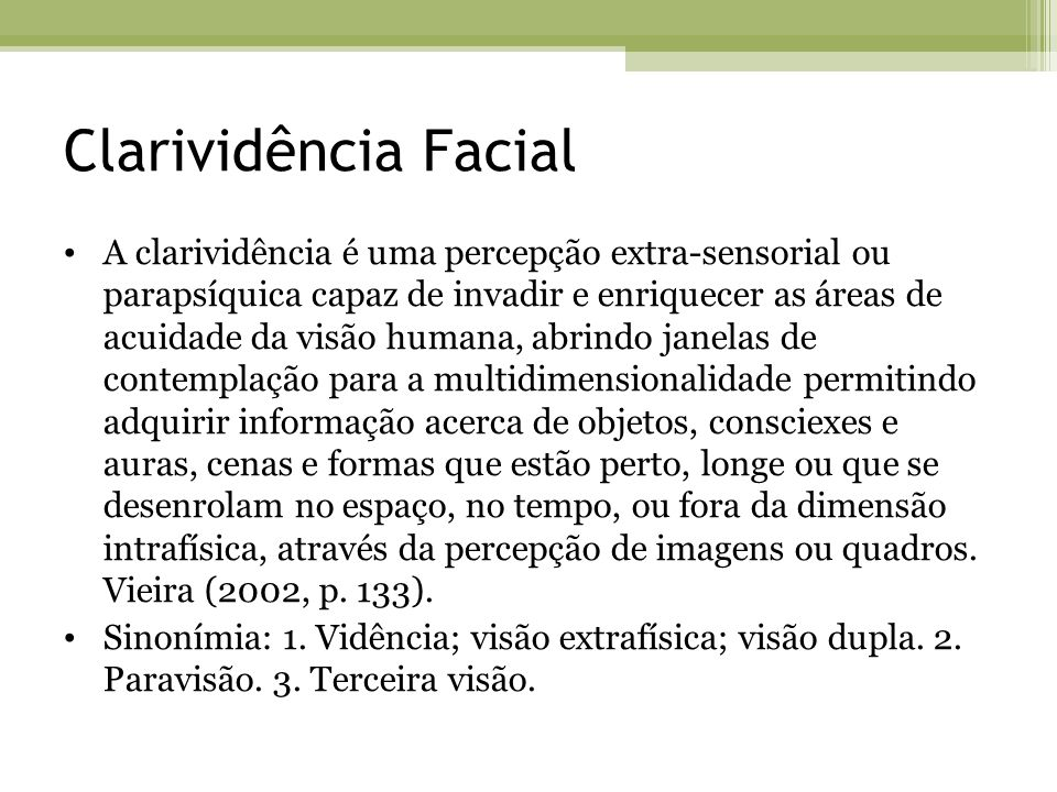 Clarividência Facial