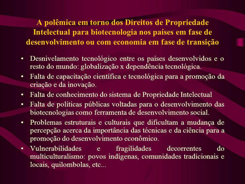 A polêmica em torno dos Direitos de Propriedade Intelectual para biotecnologia nos países em fase de desenvolvimento ou com economia em fase de transição