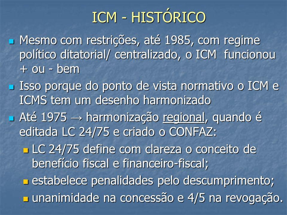 ICM - HISTÓRICO Mesmo com restrições, até 1985, com regime político ditatorial/ centralizado, o ICM funcionou + ou - bem.