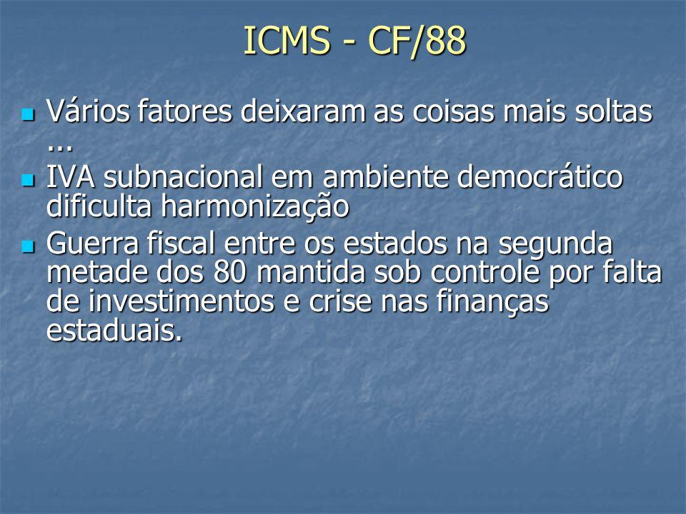 ICMS - CF/88 Vários fatores deixaram as coisas mais soltas ...