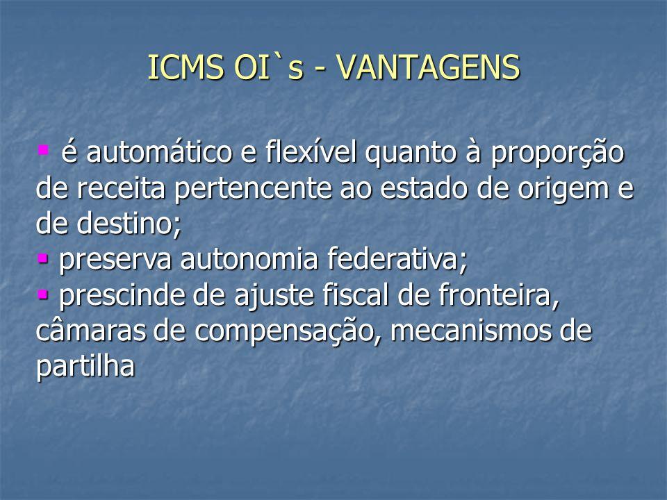 ICMS OI`s - VANTAGENS é automático e flexível quanto à proporção de receita pertencente ao estado de origem e de destino;