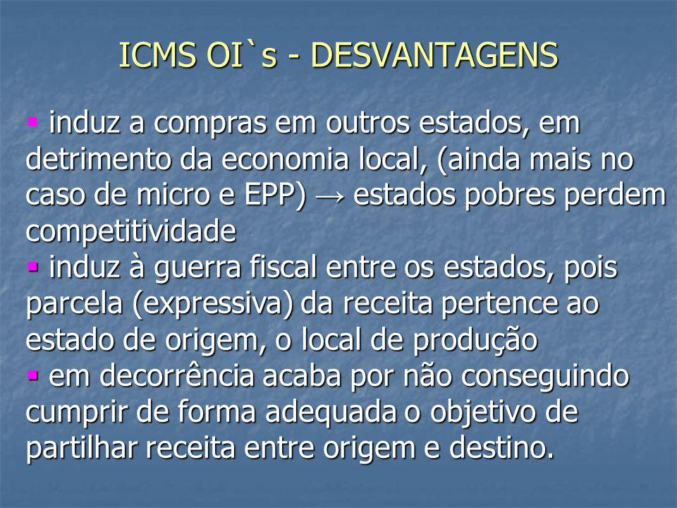 ICMS OI`s - DESVANTAGENS