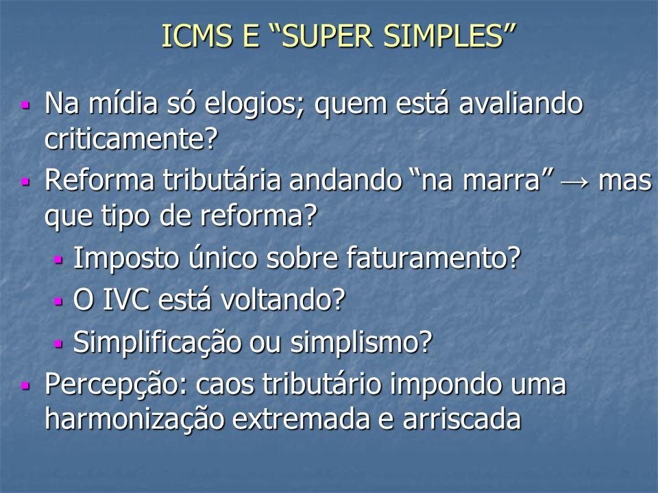 ICMS E SUPER SIMPLES Na mídia só elogios; quem está avaliando criticamente Reforma tributária andando na marra → mas que tipo de reforma