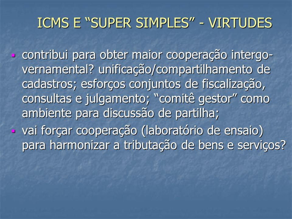 ICMS E SUPER SIMPLES - VIRTUDES