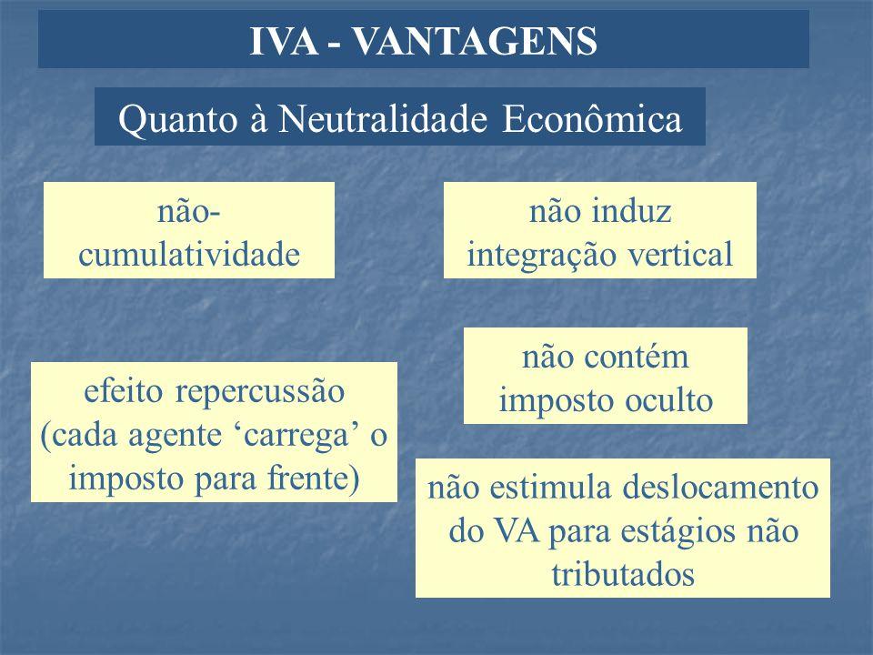Quanto à Neutralidade Econômica