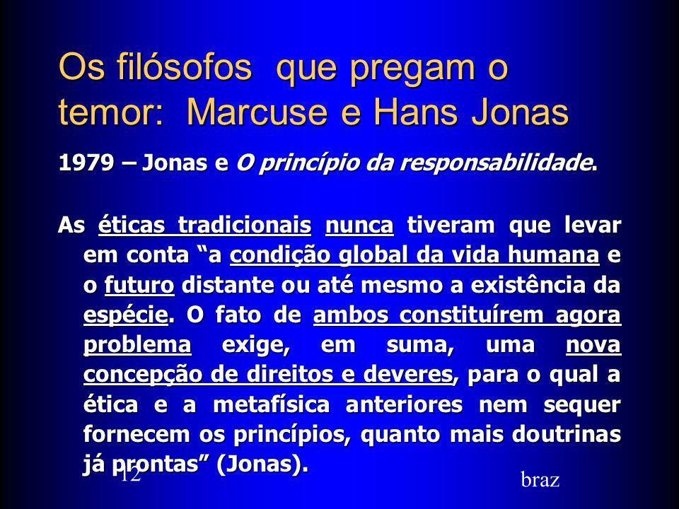 Os filósofos que pregam o temor: Marcuse e Hans Jonas