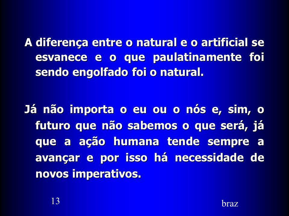 A diferença entre o natural e o artificial se esvanece e o que paulatinamente foi sendo engolfado foi o natural.