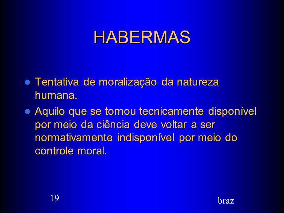HABERMAS Tentativa de moralização da natureza humana.
