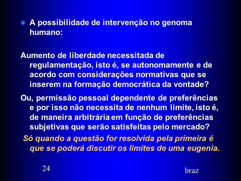 A possibilidade de intervenção no genoma humano: