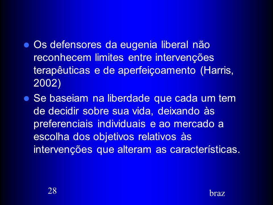 Os defensores da eugenia liberal não reconhecem limites entre intervenções terapêuticas e de aperfeiçoamento (Harris, 2002)