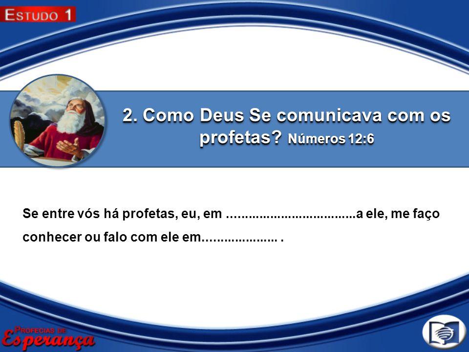 2. Como Deus Se comunicava com os profetas Números 12:6