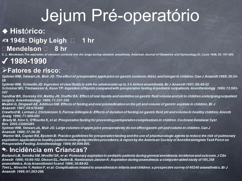 Jejum Pré-operatório ✍ 1948: Digby Leigh  1 hr ✔ 1980-1990