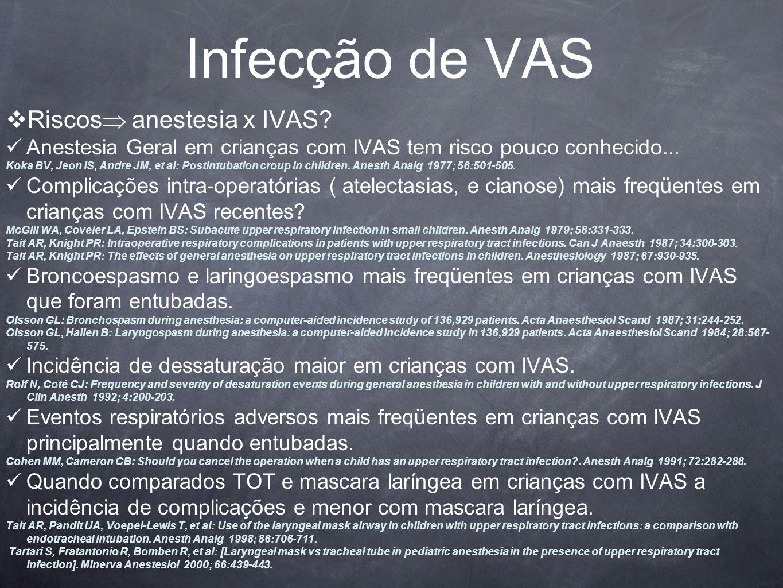 Infecção de VAS Riscos anestesia x IVAS
