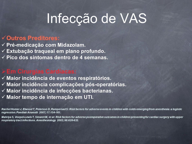 Infecção de VAS Outros Preditores: Em Cirurgias Cardíacas: