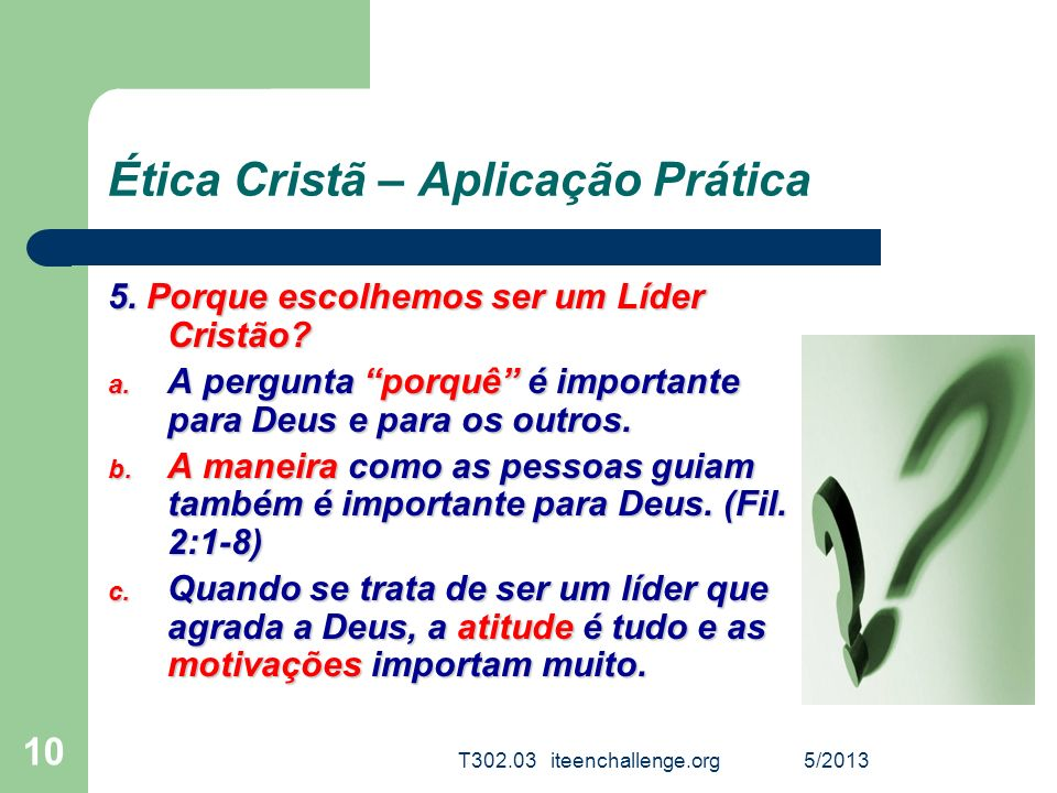 Ética Cristã – Aplicação Prática