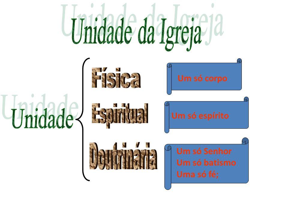 Unidade da Igreja Física Espiritual Unidade Doutrinária Um só corpo