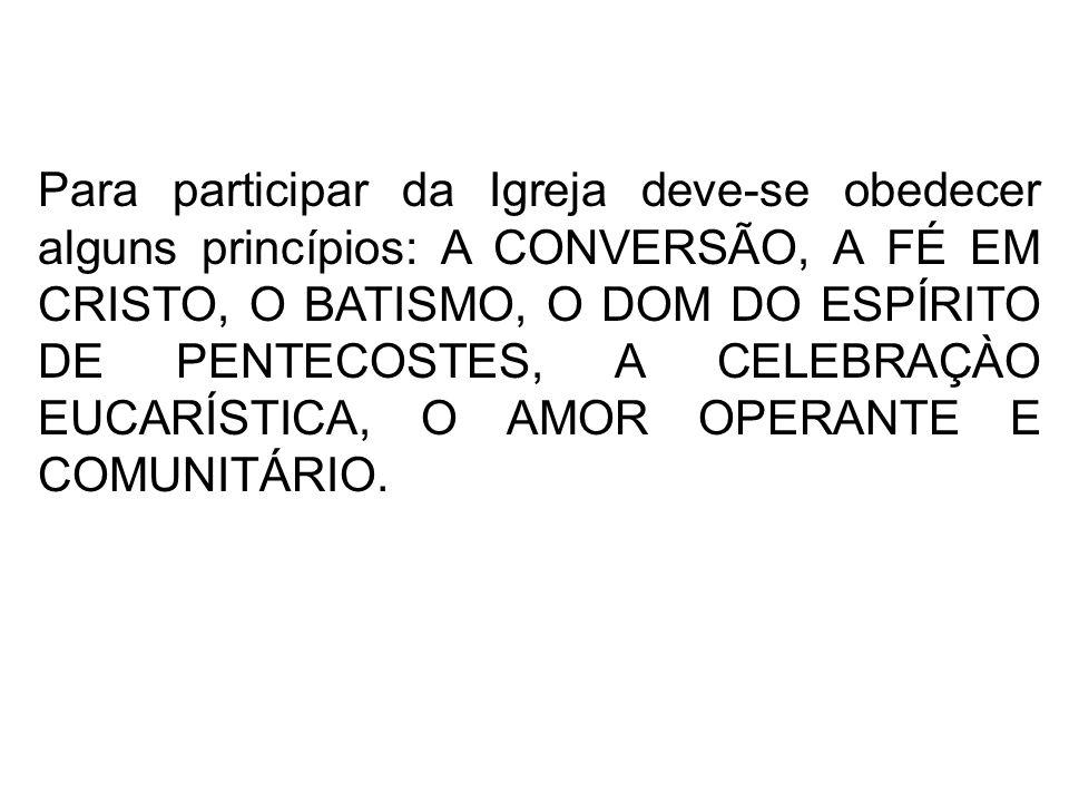 Para participar da Igreja deve-se obedecer alguns princípios: A CONVERSÃO, A FÉ EM CRISTO, O BATISMO, O DOM DO ESPÍRITO DE PENTECOSTES, A CELEBRAÇÀO EUCARÍSTICA, O AMOR OPERANTE E COMUNITÁRIO.