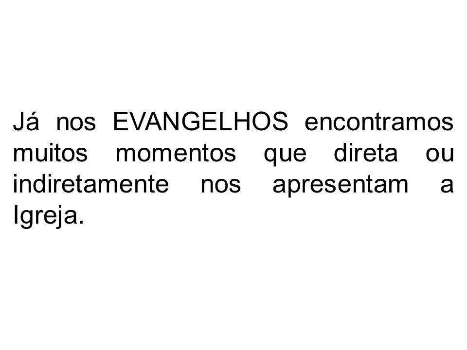Já nos EVANGELHOS encontramos muitos momentos que direta ou indiretamente nos apresentam a Igreja.
