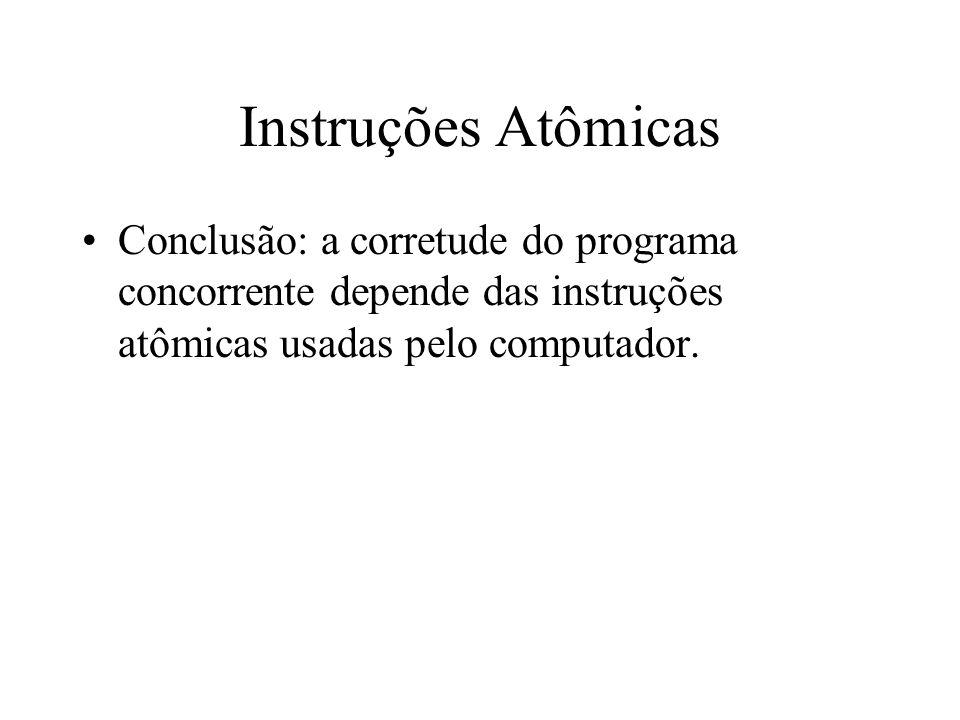 Instruções AtômicasConclusão: a corretude do programa concorrente depende das instruções atômicas usadas pelo computador.