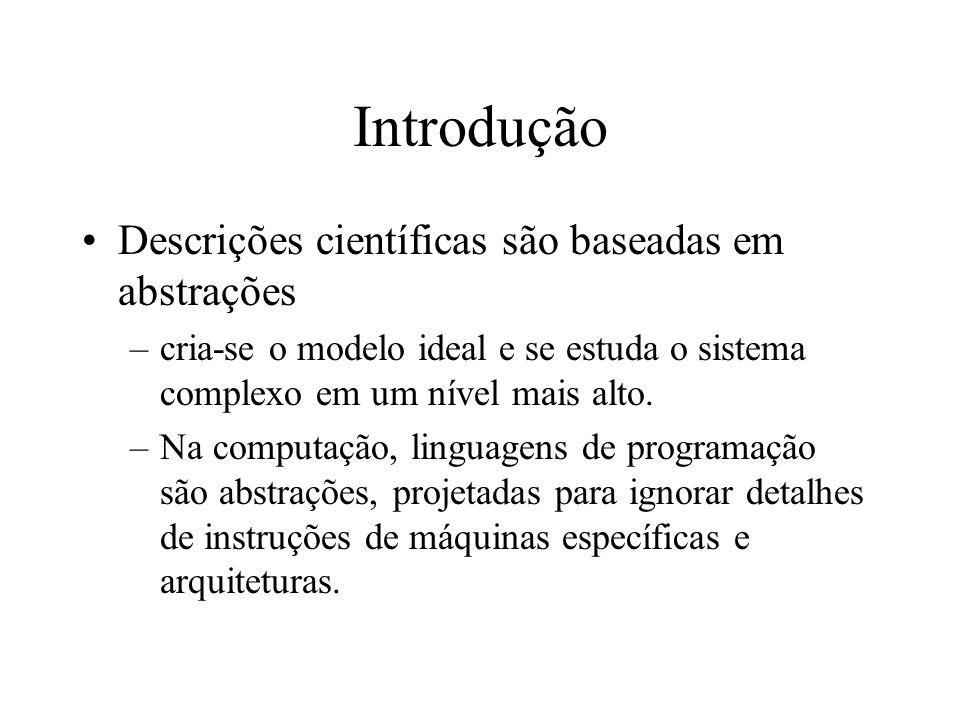 Introdução Descrições científicas são baseadas em abstrações