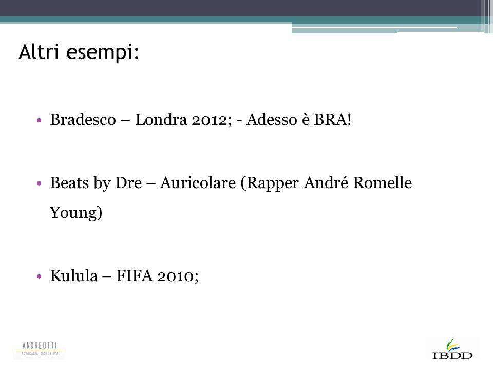 Altri esempi: Bradesco – Londra 2012; - Adesso è BRA!