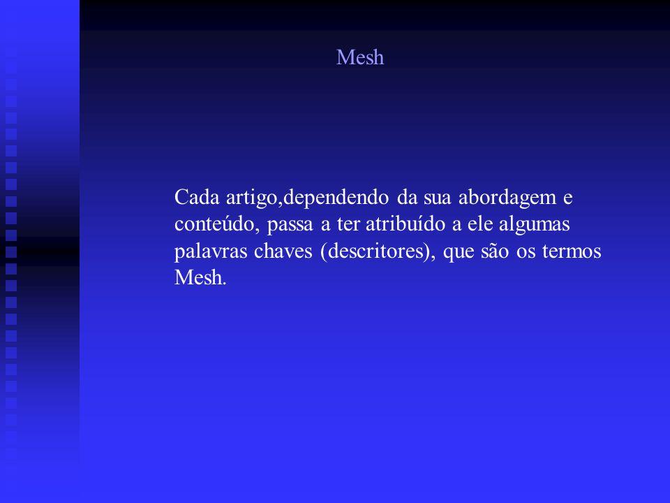 Mesh Cada artigo,dependendo da sua abordagem e conteúdo, passa a ter atribuído a ele algumas palavras chaves (descritores), que são os termos Mesh.