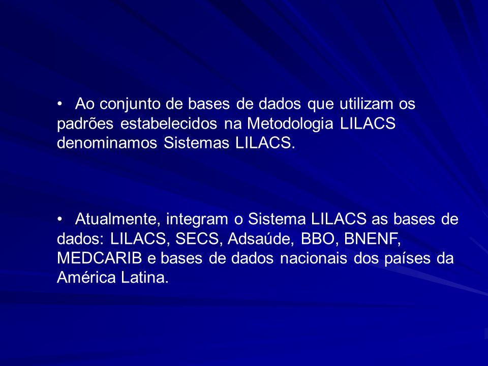 Ao conjunto de bases de dados que utilizam os padrões estabelecidos na Metodologia LILACS denominamos Sistemas LILACS.