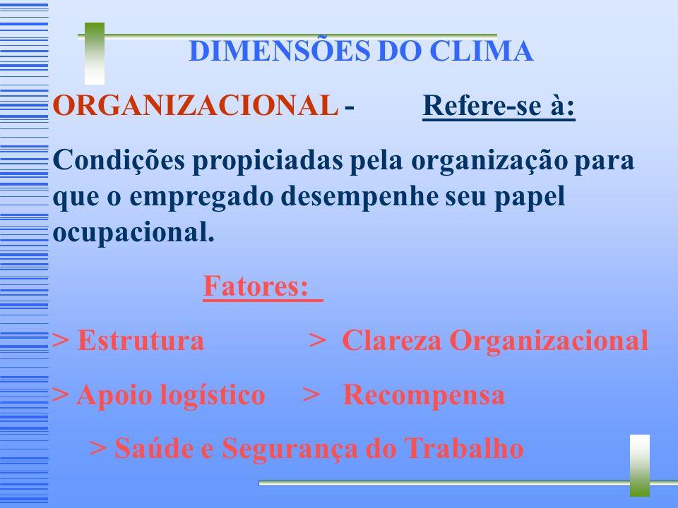DIMENSÕES DO CLIMA ORGANIZACIONAL - Refere-se à: