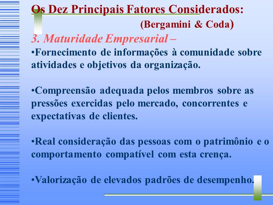 Os Dez Principais Fatores Considerados: 3. Maturidade Empresarial –