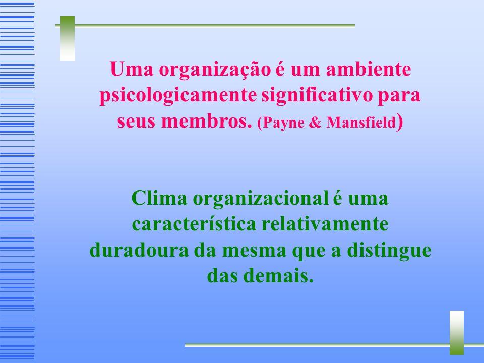 Uma organização é um ambiente psicologicamente significativo para seus membros. (Payne & Mansfield)