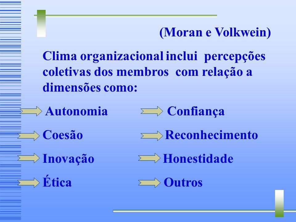 (Moran e Volkwein) Clima organizacional inclui percepções coletivas dos membros com relação a dimensões como:
