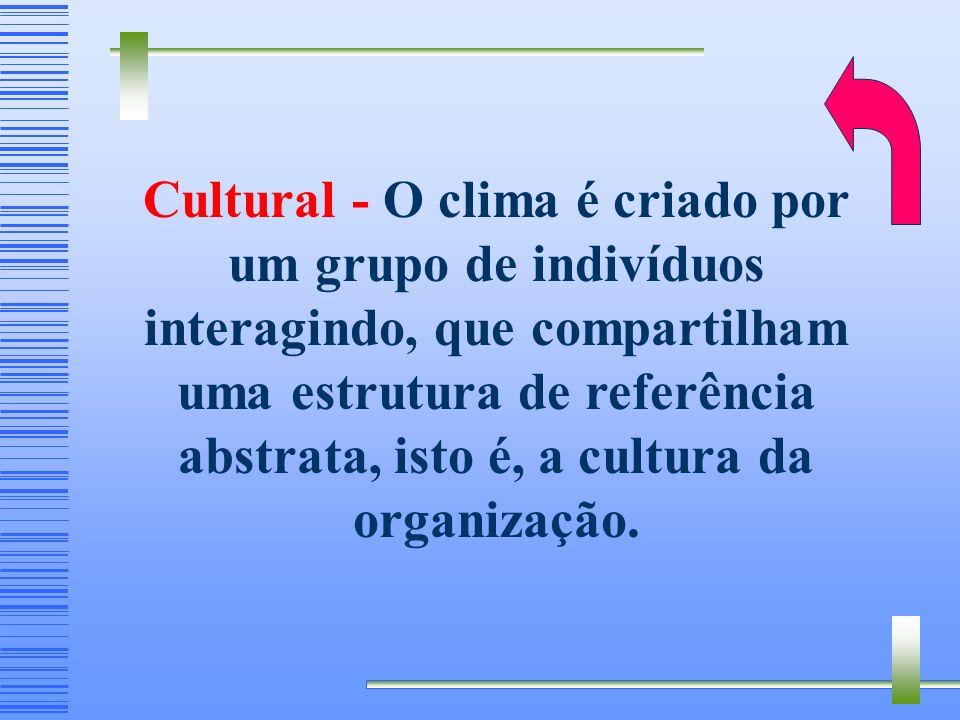 Cultural - O clima é criado por um grupo de indivíduos interagindo, que compartilham uma estrutura de referência abstrata, isto é, a cultura da organização.