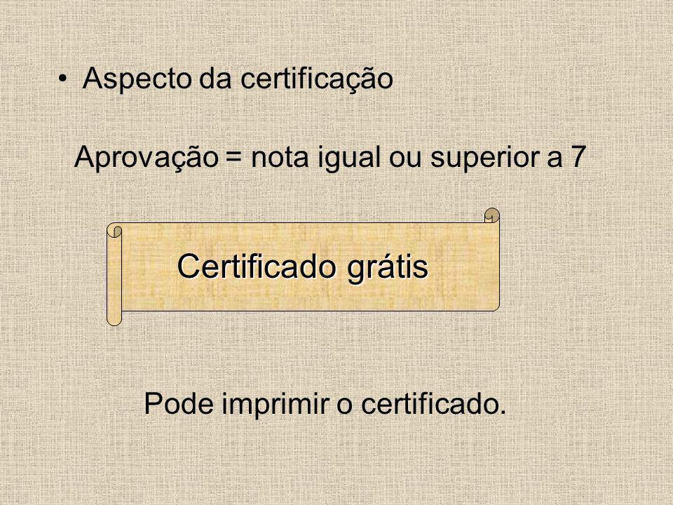 Certificado grátis Aspecto da certificação
